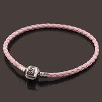 Wholesale Leather Bow Cuff Wholesale - Wholesales Fashion 10pcs lot 20CM Pink Leather Carve Love Clasp European Charm Cuff Bracelets Fit Beads,Unisex Bow Jewelry