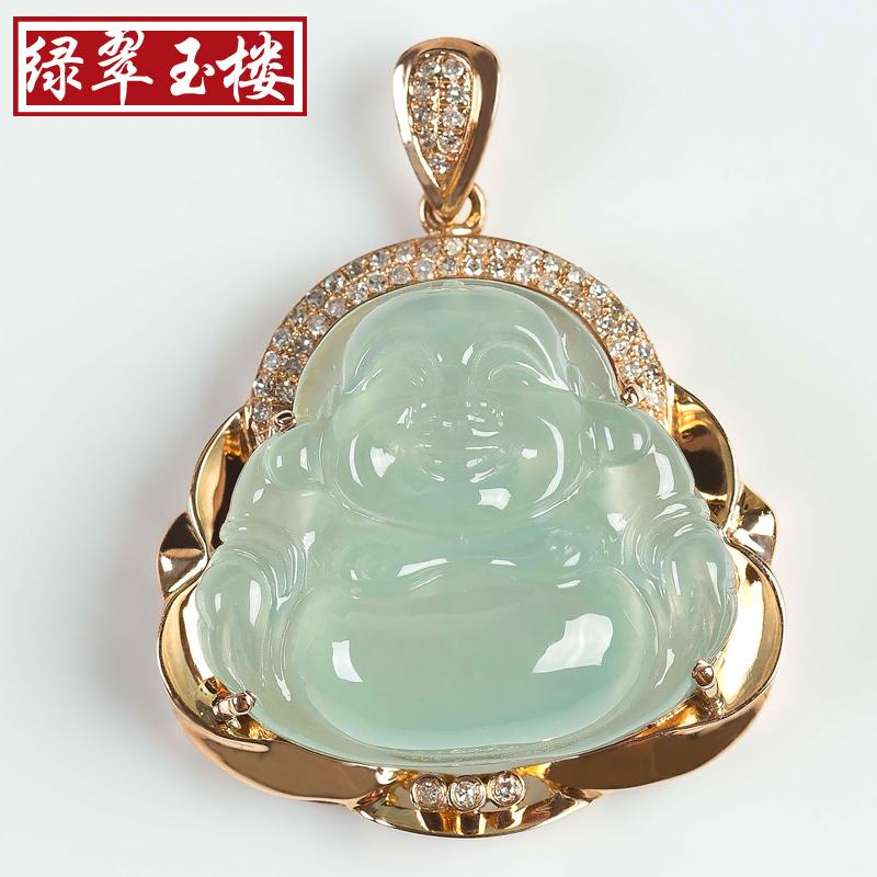 Wholesale building green jade inlaid diamond 18k gold buddha pendant wholesale building green jade inlaid diamond 18k gold buddha pendant a cargo of ice kinds of women laughing buddha jade pendant with certificate gold mozeypictures Choice Image
