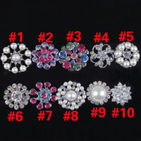 Wholesale Rhinestones Shank - 30pcs lot Rhinestone pearl buttons Drill without Shank for flower center crystal Button for wedding party dress accessories Hair accessories