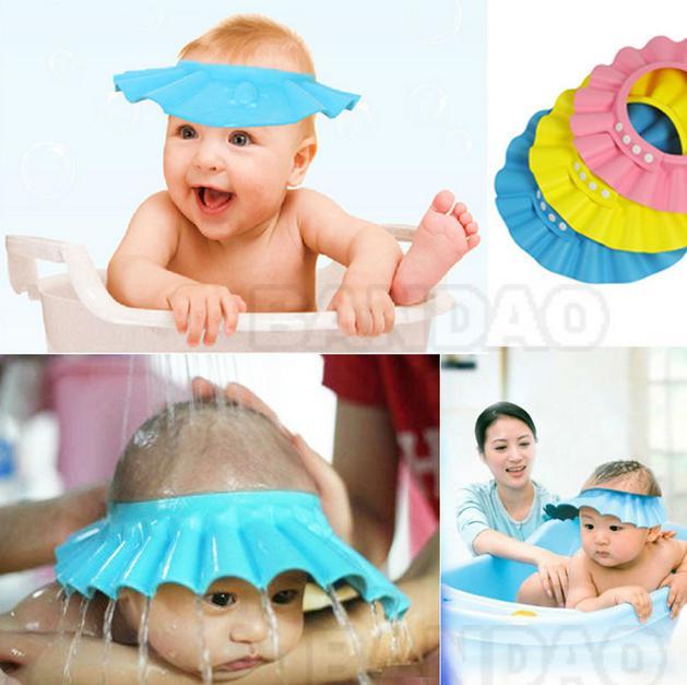 2014 NUEVO de Ducha Regulable proteger Champú para bebé de la salud de Baño impermeable tapas que los niños se laven el Cabello Escudo de la gorra Con el Envío de la Gota