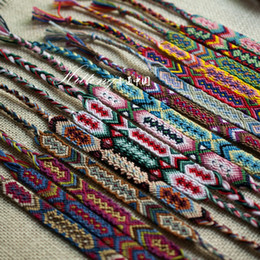 Wholesale Invisible Flower - High Quality Summer Bracelets Vintage Style Colorful 1.5CM Width Cotton Knitted Unisex Friendship Bracelet 12PCS mixed colors