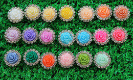 Wholesale Resin Flower Embellishments - NEW ARRIVAL IN STOCK!100pcs (LO-112 15mm)20colors metal rhinestone button with resin rose flower center diamante for embellishment