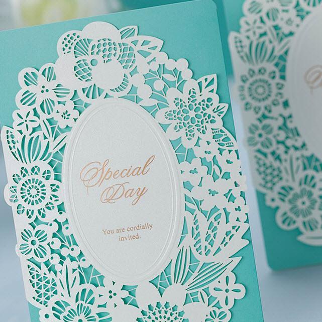 Light Blue Flowers For Weddings: Light Blue Hollow White Flowers Wedding Invitations Cards