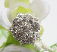 Wholesale Rhinestone Pearl Clusters - STOCK!50pcs lot 16MM metal rhinestone button with pearl for flower cluster hair flower wedding embellishment DIY accessories