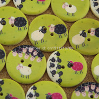 Wholesale Sewing Buttons Kids - free shipping 50pcs 20mm green sheep handmade small plaid kids diy wooden buttons sewing accessories scrapbooking 1
