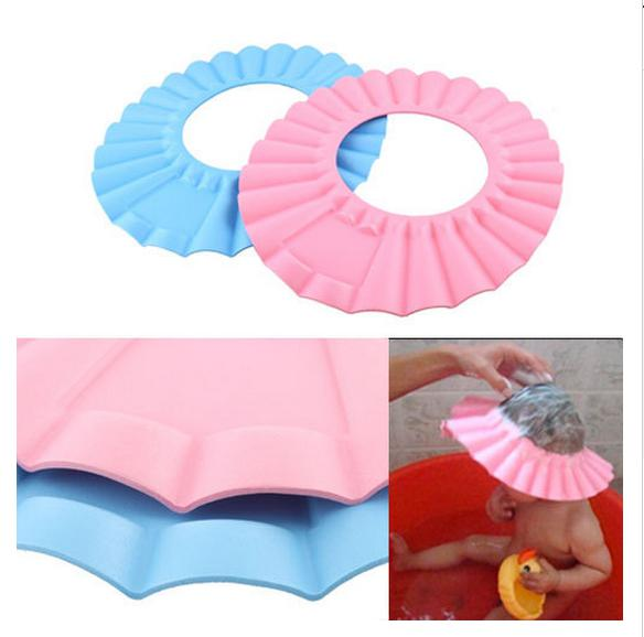2014 NEW Adjustable Shower protect Shampoo for baby health Bathing waterproof caps children Wash Hair Shield Hat With Drop Shipping
