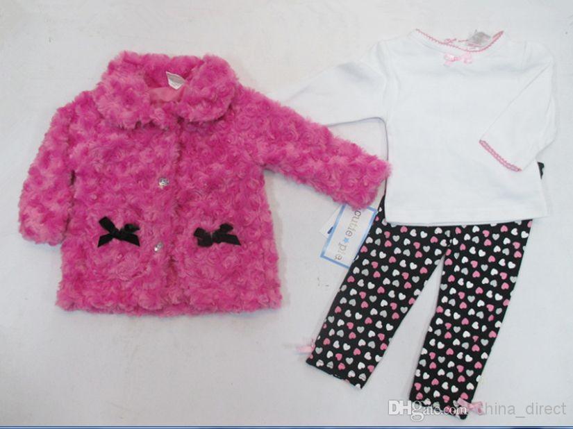 2015 winter baby mädchen anzüge kinder kinder sets mantel + t shirt + hosen outfits 3 stück set mädchen kleidung # 3503