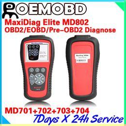 Wholesale Autel Ds - Original Autel Elite Maxidiag MD802 md 802 Full System Auto Diagnostic Tool DS+EPB+OLS obd2 Update Online