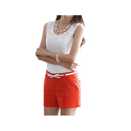 Wholesale Knit Lace Shirt Women - S5Q Women's Knitted Lace Spaghetti Strap Sleeveless Tank Top Shirt Vest Blouse AAADHT