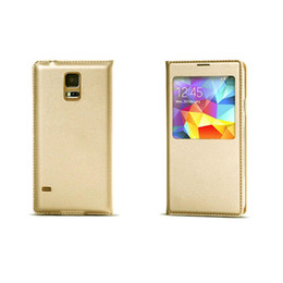 Wholesale S View Covers - S5Q Smart Sleep View Window Leather Cover Case For Samsung Galaxy S5 S V i9600 AAADHO
