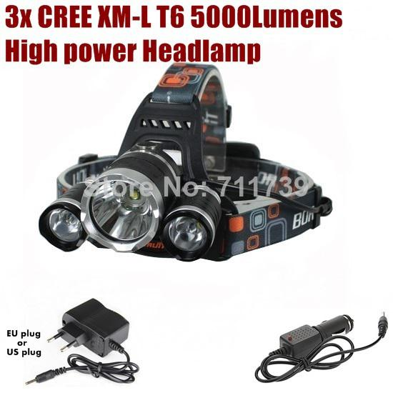 AloneFire HP03 high power 3xCREE XM-L T6 LED 5000Lumens 4 Mode CREE LED Head lamp Head light+ AC Charger/Car charger