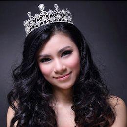 Wholesale Tiara Miss - Large Tiara Crown Miss Word Beauty Pageant Princess Austria Rhinestone Crystal Silver Plated Tiara Crown High Quality Jewelry