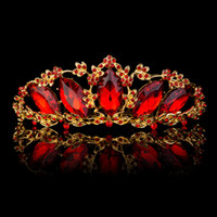 Wholesale Hiar Flower - Hot Sale Gold Silver Plated Tiara Crown Comb Wedding Bridal Party Red Clear Marquise Rhinestone Crystal Elegant Hiar Accessories Jewelry