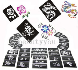 Wholesale Sheets For Glitter Tattoos - NEW - 50pcs lot Mixed Design Sheets Stencils for Body Painting Glitter Temporary Tattoo Kit Free Shipping