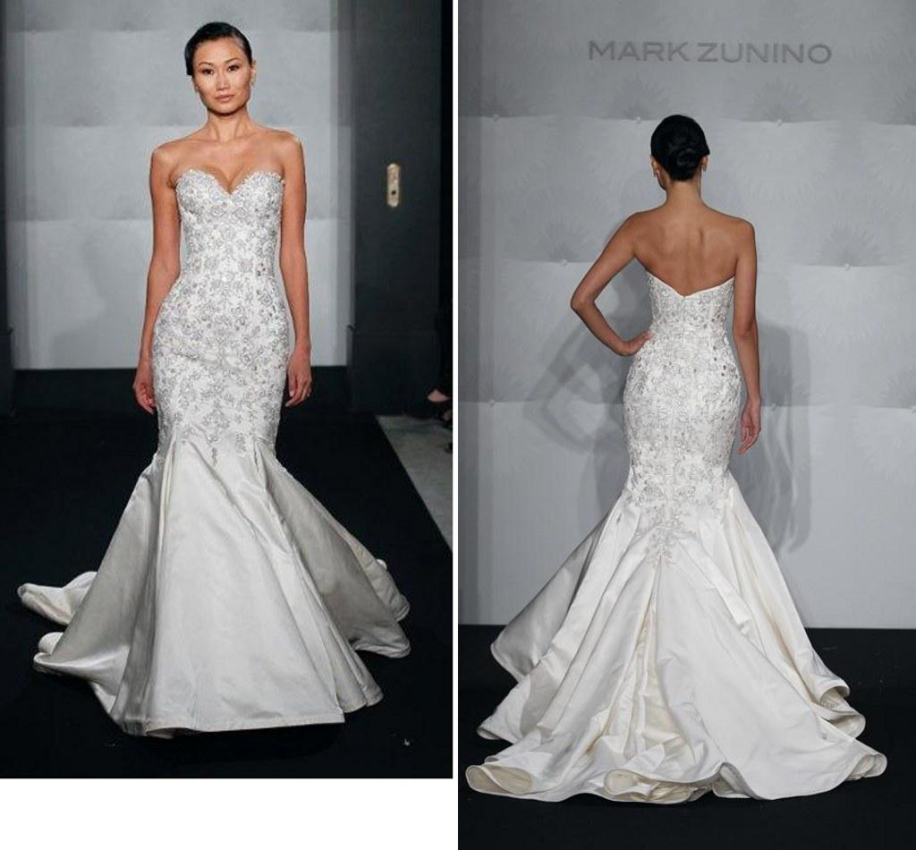 Hot Sale Mark Zunino Mermaid Bridal Gowns With Beading Crystals ...