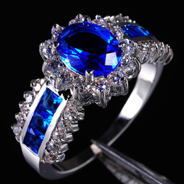 Wholesale Wedding Jewelry Sets Royal Blue - Jenny G Jewelry Women's Blue Tanzanite Stone 10KT Gold Filled Royal Wedding Ring for Women Nice Gift