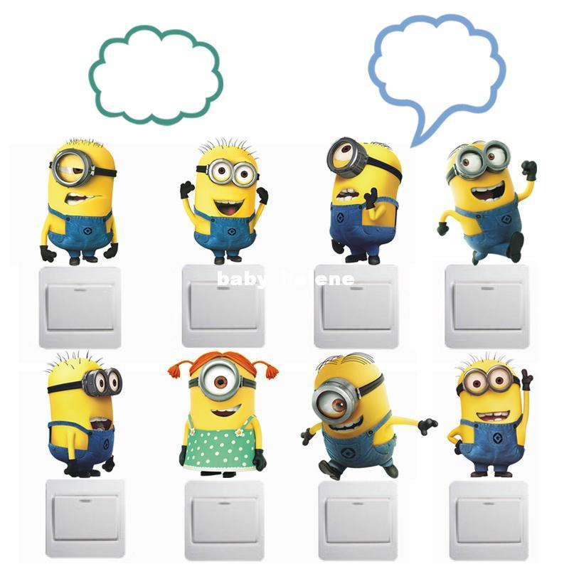 Cute Cartoon Minions Combo Switch Sticker DIY 3D Toilet Sticker for Bathroom  Child Room Decoration Anime Poster. Cute Cartoon Minions Combo Switch Sticker Diy 3d Toilet Sticker