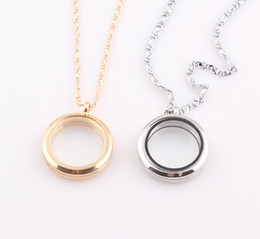 Wholesale Wholesale Floating Glasses - Round Magnetic Floating Locket Necklace Glass Floating Charm Memory Locket Pendant Chain Necklace Wholesale ZN84
