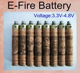 E fire batteries en Ligne-Nouveau E-Feu Bois Mod Variable Tension Batterie Bois E Cigarette X feu Cigarette Électronique Xfire Reconstructible E Cig Batterie VV Mod TZ032