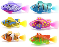Wholesale Electronic Toy Robots - free shipping 8 color LED Novel Robofish Electric Toy Robo Fish,Emulational Robot Fish,Electronic pets