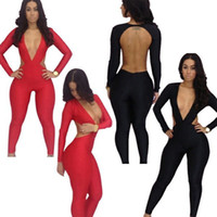 Discount women clubwear bodysuits - Club&Party Women Lady Clothing Sexy Backless Overalls Bodysuits Long Sleeve Bodycon Jumpsuits Clubwear, Black, Red, S, M, L