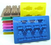 Wholesale Silicon Ice Mold - Lego Shaped Silicon Ice Cube Tray Mini Robot Figure Silicone Chocolate Cake Mold Tray