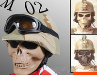 Wholesale Face Mask Chocolate - Zombie Skeleton Skull Bone Half Face Party outdoor field death Masks for army survival war game Movie Prop walking Protect Safe Dead Cosplay