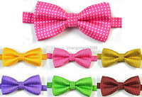 Wholesale Boys Pink Neck Ties - Top Dot Embroidery Baby Children Boys Neck Bow Tie BOW TIE Pre-tied Adjustable Imitation Silk Hot Pink Bow Tie