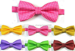 Wholesale Hot Pink Neck Tie - Top Dot Embroidery Baby Children Boys Neck Bow Tie BOW TIE Pre-tied Adjustable Imitation Silk Hot Pink Bow Tie