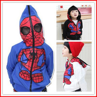 Wholesale Winter Hoodies For Men Wholesale - Hot Sale 2015 New Baby Boys Spider-man cardigan jacket Boys Hoodie coats Children clothing boys girl hooded outwears 5pcs lot for 3-7T