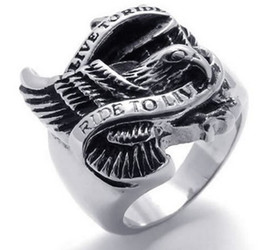 Wholesale Hawk Rings - Whitney_houston Jewelry Vintage Stainless Steel Band Biker Mens Eagle Hawk Ring, Black Silver US size 8 to 15 Drop Free Shipping