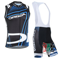Wholesale Cheap Orbea - Cheap Men's Short Cycling Suit ORBEA CYCLING VEST Sleeveless Bike Jersey + Bib Shorts with Gel pad Sleeveless Bicycle wear maillot