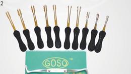 Wholesale Auto Lock Kit - 2014 New GOSO 10pcs Double Sided Auto Rakes Lockpicks Locksmith Tools Car Lock Kit Set Auto Lock Pick Opener
