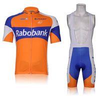 Wholesale Rabo Bank - Cheap Men's Short Cycling Suit CLASSIC RABO BANK ORANGE Bike Jersey + Bib Shorts with Gel pad Short Sleeve Bicycle wear maillot