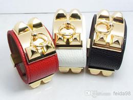 Wholesale Loop Bracelets - Vintage Metal Women Studs Pyramid Faux Leather Loop Charm Bangles Bracelet Cuffs Free Shipping