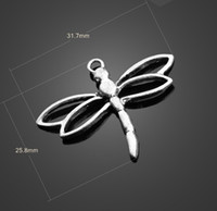 Wholesale Dragonflies Earring - 13085 vintga Tibean silver dragonfly charms Necklace earrings Pendants DIY alloy Charms Jewelry Findings & Components