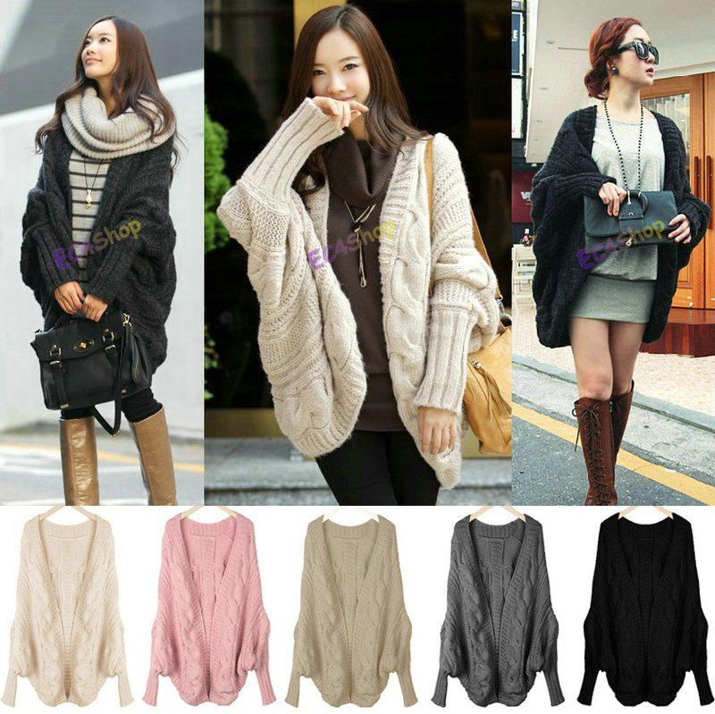 New Women Loose Fit Cable Knit Cape Wrap Swing Cardigan Sweaters ...