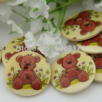 Wholesale Colorful Sewing Buttons - free shipping 100pcs Mixed colorful handmade cute bear small plaid kids cartoon wooden buttons sewing accessories scrapbooking 1