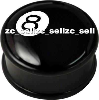 Wholesale 60pcs mix 10 sizes UV acrylic 8 Ball logo single flare ear plug gauges flesh tunnel body piercing jewelry SFP0067