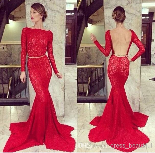 2018 Vestidos de fiesta Sexy Long Sleeve Vintage Prom Dresses Backless Red Lace Crystal Belt Mermaid Formal Evening Dresses BO3587