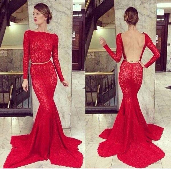 2018 Vestidos de fiesta Sexy Long Sleeve Vintage Prom Dresses Backless Red Lace Crystal Belt Mermaid Formal Evening Dresses BO3587