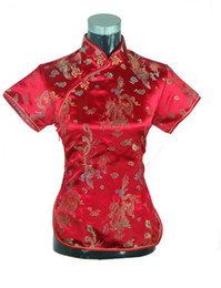 traditional chinese kimonos UK - Shanghai Story New Arrival fashion cheongsam top traditional Chinese Women's Silk Satin Top china floral print blouse Dragon Shirt Chinese