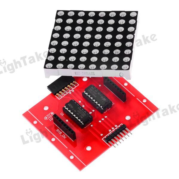 MAX7219 and 8x8 LED Matrix on breadboard