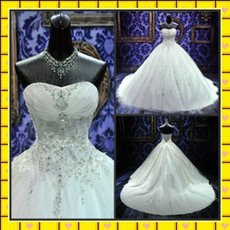 Wholesale Strapless Rhinestone Corset Wedding Dress - 2014 Cathedral Bridal Gowns with Crystals Strapless Corset Beaded Chapel Train white Ivory Church A-Line Wedding Dresses with Rhinestones