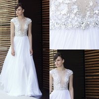 Wholesale Custom Embroidered Belts - Mira Zwillinger Wedding Dresses Sequined deep V-neck Bodice with Chiffon Skirt Additional Hand Embroidered Crystal Belt Bridal Gowns
