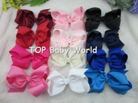 Wholesale Silk Hair Bows For Girls - 32pcs lot,6 inch big ribbon bows,Girls' hair accessories hair bow withclip, hot selling bows for girl. free shipping