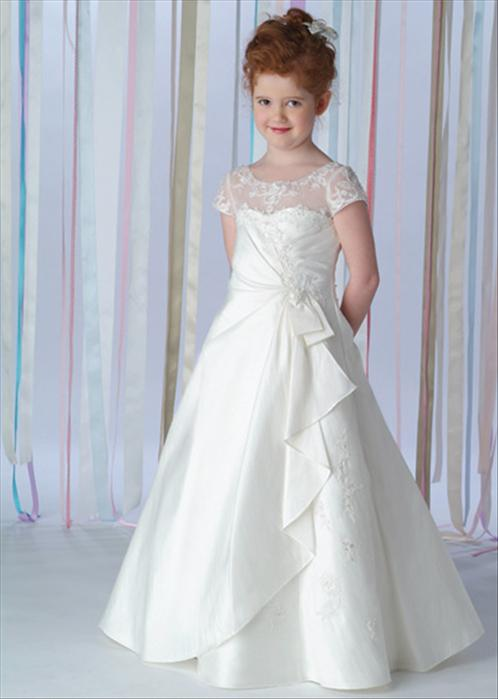 Little Girls Wedding Gowns A Line Sheer Jewel Neckline And Short ...