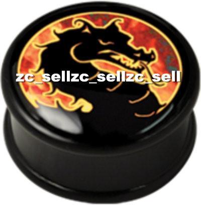 Wholesale 60pcs mix 10 sizes UV acrylic Fire Dragon logo single flared ear plug gauges flesh tunnel body piercing jewelry SFP0110