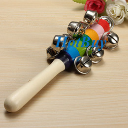 Wholesale Handle Bell - Baby Rainbow Pram Handle 18CM Wooden Bell Stick Shaker Rattles Toy #2999