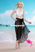 Wholesale Cheapest Sarongs - swimwear Wholesale-hot sale pareo Sheer Chiffon Sarong Beach Cover Up Bikini Wrap White Black LC40718 Free shipping Cheapest Price
